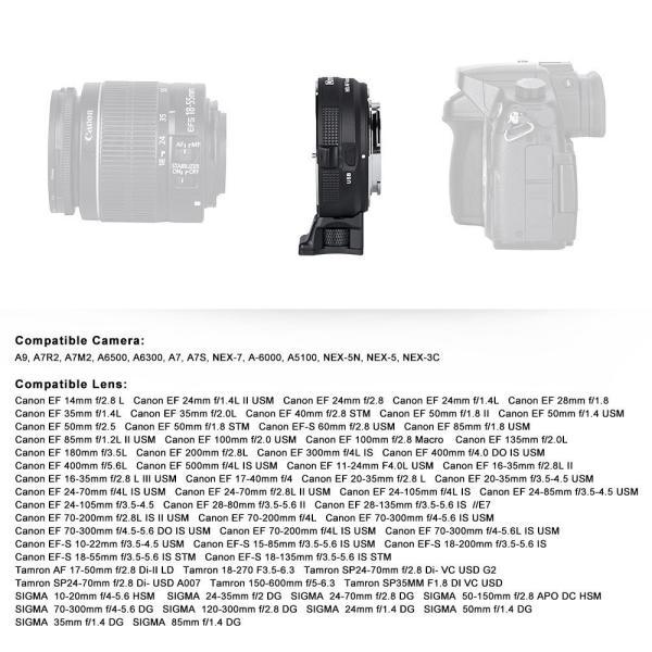 Commlite レンズマウントアダプター CM-EF-E HS (キャノンEFマウントレンズ → ソニーEマウント変換) 電子接点付き、ハ