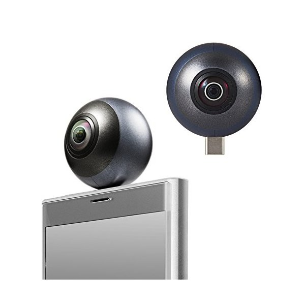 """エレコム 360度カメラ スマホ直挿しタイプ 静止画/動画(2.5K)/VR """"オムニショットミニ"""" 全天球カメラ ブラック OCAM-VR"""