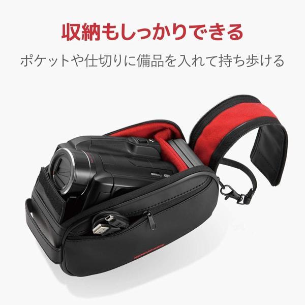エレコム ビデオカメラケース 耐衝撃 低反発ポリウレタン 撥水 Lサイズ 参考収容寸法:175×80×90mm ブラック ZSB-DV007