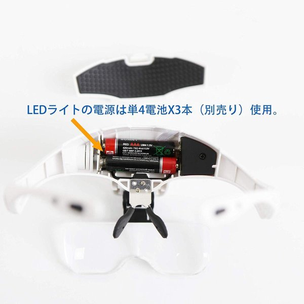 Sutekus ヘッドルーベイ ルーペ メガネ LED付拡大鏡 眼鏡の上装着 メガネゴムバンド両用 5レンズ交換調節 手芸読書作業