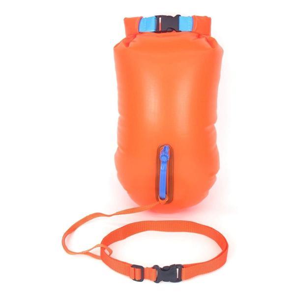 スイムブイ フロート ダブル エアバッグ デュアルバルブ 男女 大人 子供 兼用 浮き輪 トライアスロン (オレンジ) idr-store