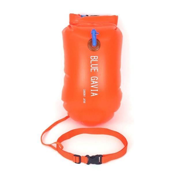 スイムブイ フロート ダブル エアバッグ デュアルバルブ 男女 大人 子供 兼用 浮き輪 トライアスロン (オレンジ) idr-store 02