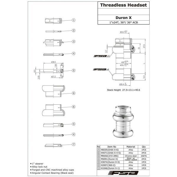 "FSA Duron X 1/"" Inch Threaded Headset 22.4//26.4mm Sealed Bearings Silver"