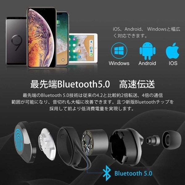 ワイヤレス イヤホン 大容量充電式 Bluetooth 5.0 両耳通話 左右分離型 落下防止 3Dステレオサウンド Siri対応 充電式収納ケース付き|igenso|02