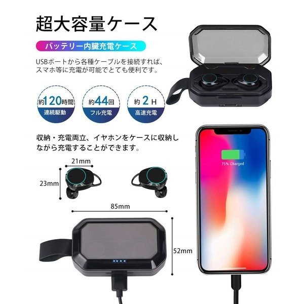 ワイヤレス イヤホン 大容量充電式 Bluetooth 5.0 両耳通話 左右分離型 落下防止 3Dステレオサウンド Siri対応 充電式収納ケース付き|igenso|11