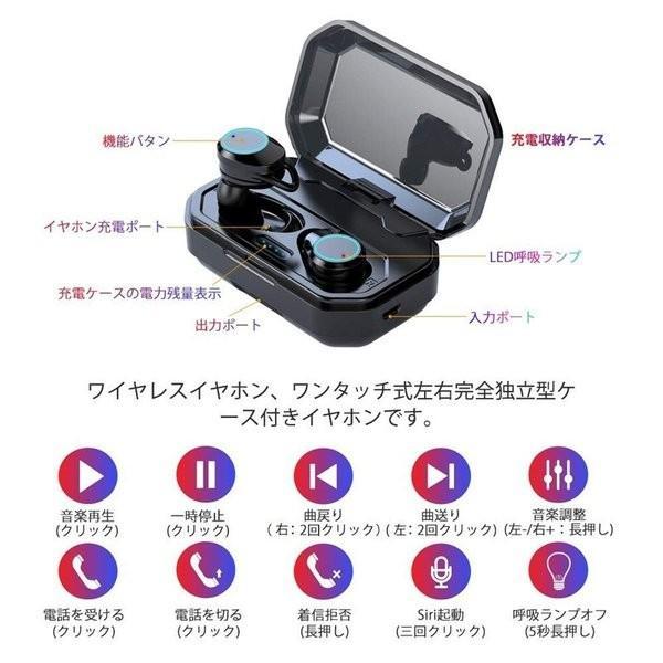 ワイヤレス イヤホン 大容量充電式 Bluetooth 5.0 両耳通話 左右分離型 落下防止 3Dステレオサウンド Siri対応 充電式収納ケース付き|igenso|12