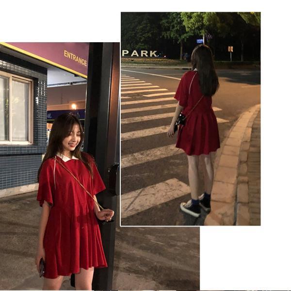 レディース 体型カバー ワンピース プリーツ レディースファッション 夏 半袖 T−シャツ igenso 09