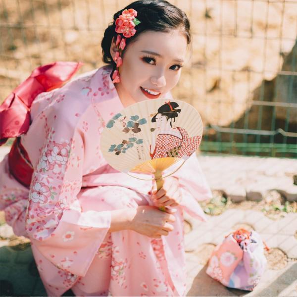 女性浴衣 選べる2柄 浴衣セット (浴衣+帯) 桜 花火大会 夏祭り 2点セット 可愛い|igenso|03