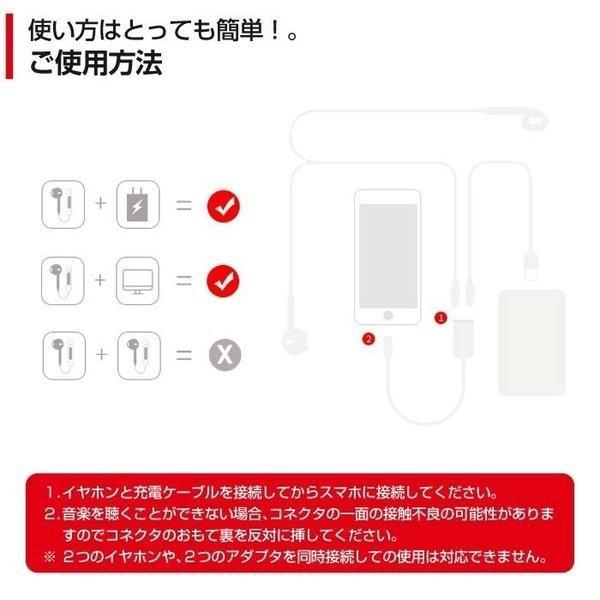 iPhoneX iPhone8/8 Plus 互換 イヤホン 2in1 充電変換ケーブル 2ポート付き イヤホン 変換アダプタ レビューを|igenso|03