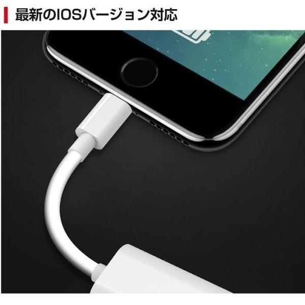 iPhoneX iPhone8/8 Plus 互換 イヤホン 2in1 充電変換ケーブル 2ポート付き イヤホン 変換アダプタ レビューを|igenso|04