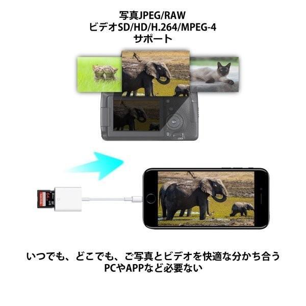 iPhone SD カード リーダー Micro SD カード リーダー OTG機能 写真とビデオ伝送 メモリー スティック Lightning ライトニング SD カード カメラ リーダー|igenso|07
