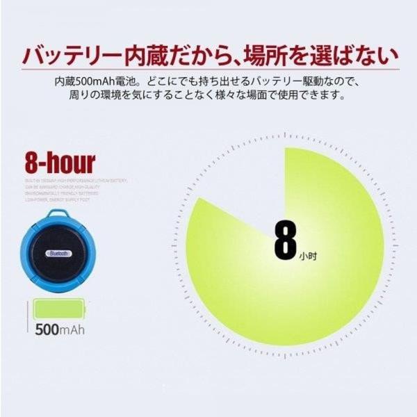 ポータブル防水屋外 ワイヤレス Bluetoothスピーカー C6 Suctingコンピュータの携帯電話のスピーカーサポートTFカード|igenso|06