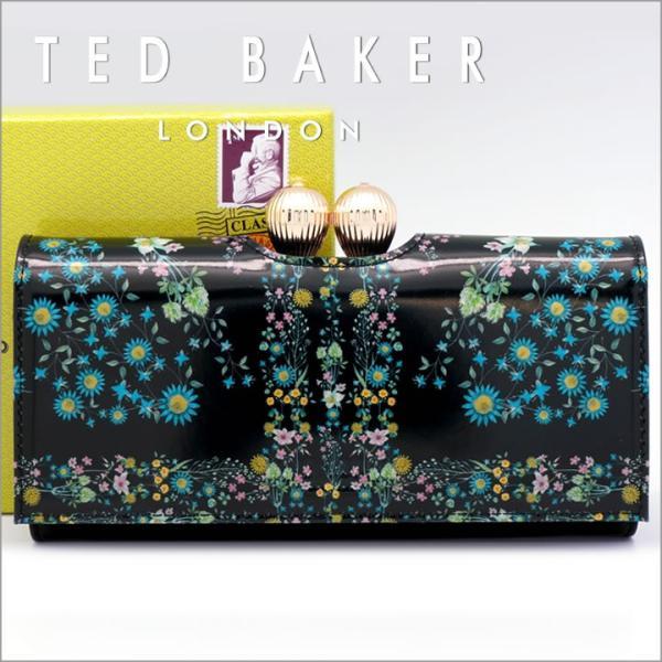 4ddbe2dd4892 テッドベーカー 長財布 TED BAKER がま口財布 レディース ブラック XA7W/XL35/KERREN 138181 ...