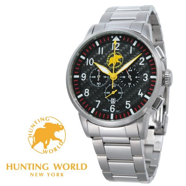 ハンティングワールド時計HUNTINGWORLD腕時計HWJ013RDHW013RDKANGAカンガブラック(カーボン)文字盤