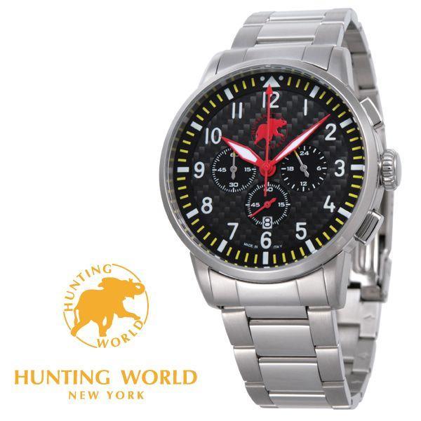 ハンティングワールド時計HUNTINGWORLD腕時計HWJ013YLHW013YLKANGAカンガブラック(カーボン)文字盤