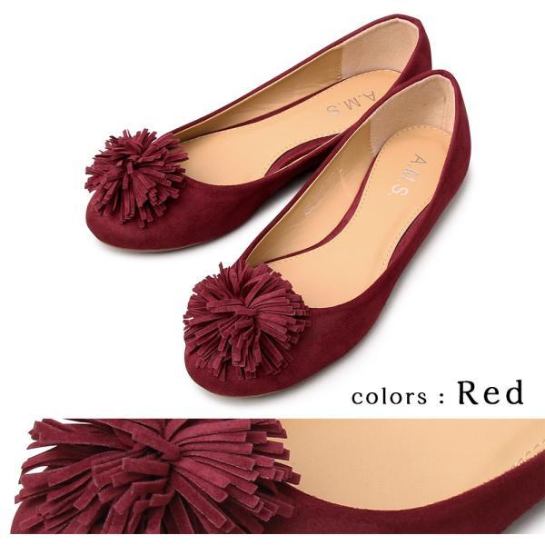 バレエシューズ パンプス フラットシューズ ボンボン ポンポン フェミニン ラウンドトゥ カジュアル 黒 赤 ブラック ベージュ レッド 靴 くつ