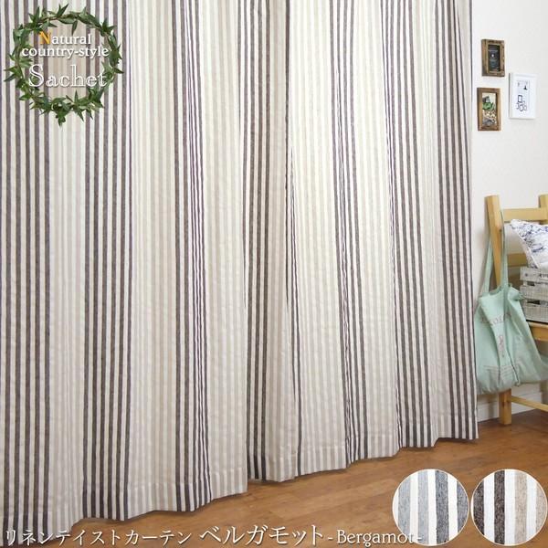 リネン風カーテン CH718 ベルガモット 既製サイズ 巾100cm×丈135cm 2枚組/巾150cm×丈178・200cmcm 1枚|igogochi