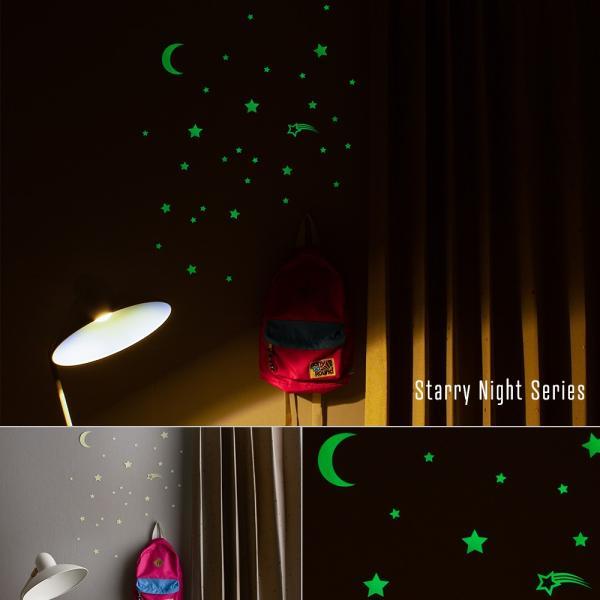 ウォールステッカー おしゃれ 蓄光 星 光る 蓄光ステッカー 壁シール GLOPLAY|igogochi|05