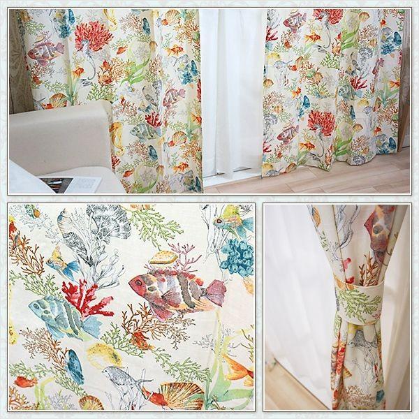 カーテン インポートカーテン カラフル 海柄 YH923コンチャ 既製サイズ巾100×丈135cm 2枚組/巾150×丈178・200cm 1枚|igogochi|02