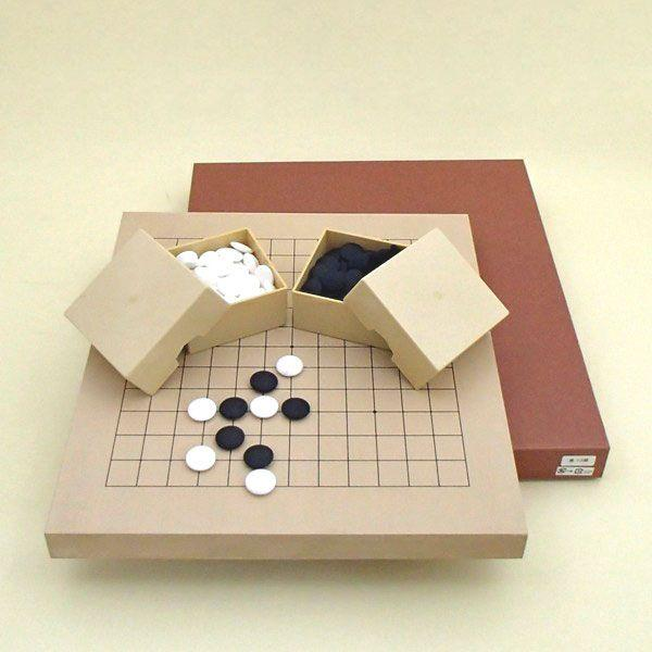 囲碁将棋セット 新桂10号13路碁・将棋両用盤と蛤碁石花印20号とミニ角ケース