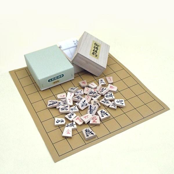 将棋盤セット 安価で収納便利な 塩ビの将棋盤と木製上別製源平将棋駒(国産)裏赤