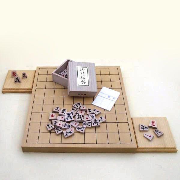 木製将棋セット 新かや1寸卓上接合将棋盤竹と将棋駒楓漆書に駒台付