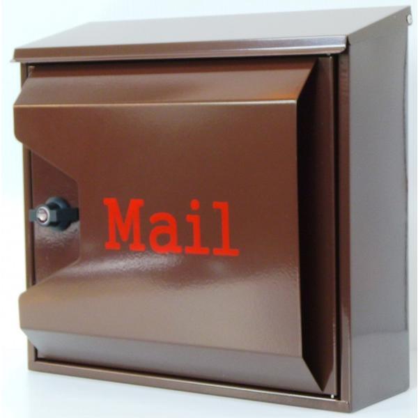 郵便ポスト郵便受けおしゃれかわいい人気北欧モダンデザイン大型メールボックス 壁掛けプレミアムステンレス ブラウン色ポストpm042