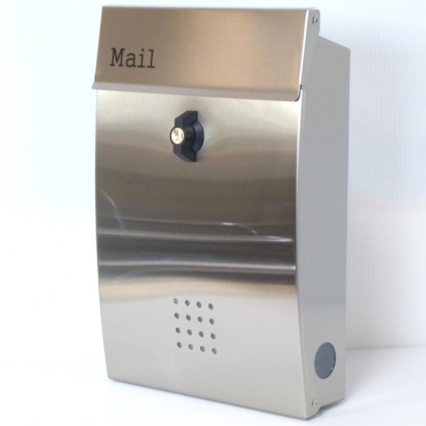 夏セール8月31日まで 郵便ポスト郵便受けおしゃれかわいい人気北欧メールボックス壁掛けプレミアムステンレスシルバーステンレス色ポストpm131