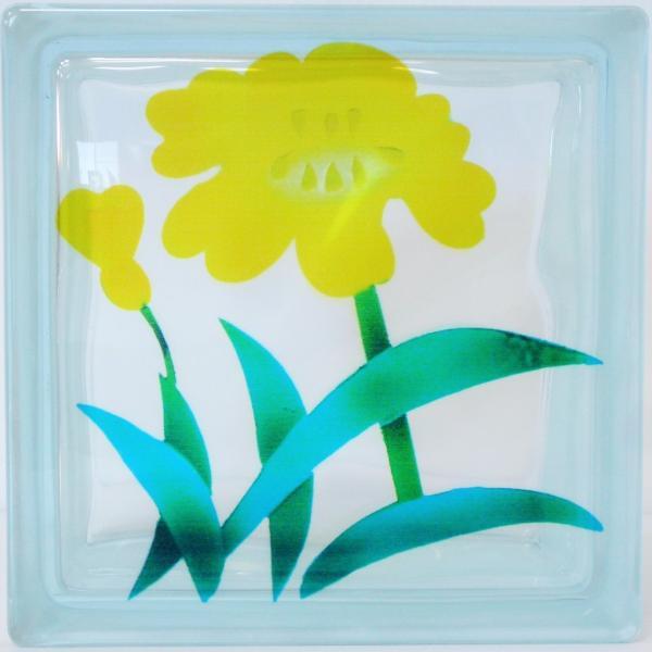 ガラスブロック 日本基準サイズ 世界で有名なブランド品 厚み95mm花gb7095|ihome