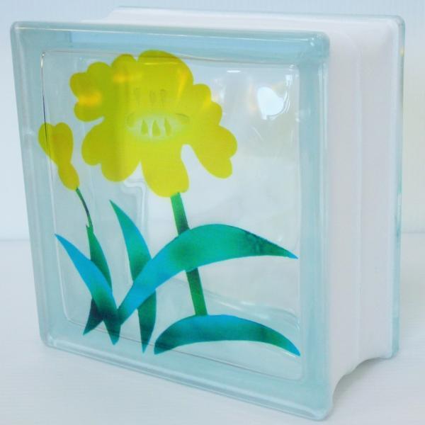 ガラスブロック 日本基準サイズ 世界で有名なブランド品 厚み95mm花gb7095|ihome|02