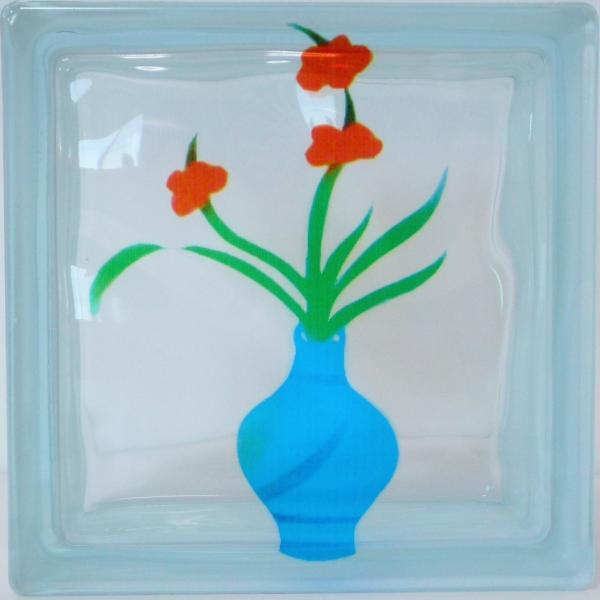 ガラスブロック 日本基準サイズ 世界で有名なブランド品 厚み95mm生け花 花瓶gb7195|ihome