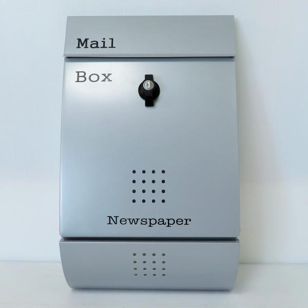 郵便ポスト郵便受けおしゃれかわいい人気北欧モダンデザインメールボックス壁掛けプレミアムステンレスシルバー色ポストpm011|ihome|02