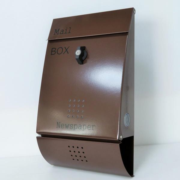 郵便ポスト郵便受けおしゃれかわいい人気北欧モダンデザインメールボックス壁掛けステンレスブラウン色ポストm012|ihome