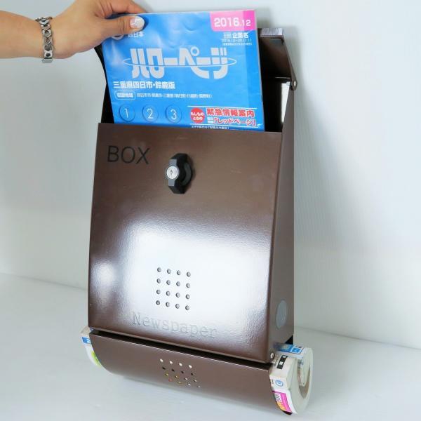郵便ポスト郵便受けおしゃれかわいい人気北欧モダンデザインメールボックス壁掛けステンレスブラウン色ポストm012|ihome|05