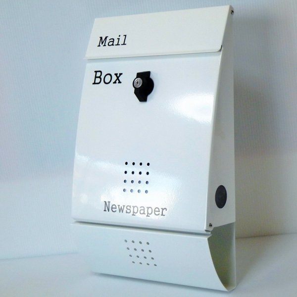 郵便ポスト郵便受けおしゃれかわいい人気北欧モダンデザインメールボックス壁掛けプレミアムステンレスホワイト白色ポストpm014|ihome