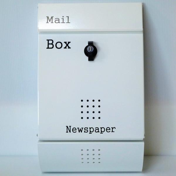 郵便ポスト郵便受けおしゃれかわいい人気北欧モダンデザインメールボックス壁掛けプレミアムステンレスホワイト白色ポストpm014|ihome|02