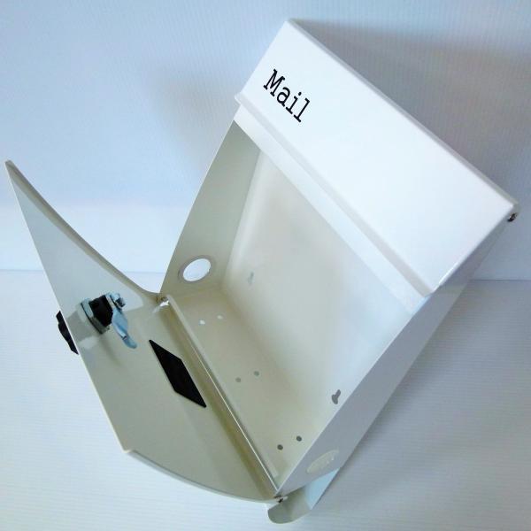 郵便ポスト郵便受けおしゃれかわいい人気北欧モダンデザインメールボックス壁掛けプレミアムステンレスホワイト白色ポストpm014|ihome|06