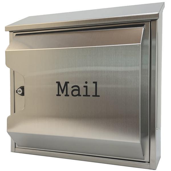 郵便ポスト郵便受けおしゃれかわいい人気北欧モダンデザイン大型メールボックス 壁掛けプレミアムステンレスシルバーステンレス色ポストpm045|ihome