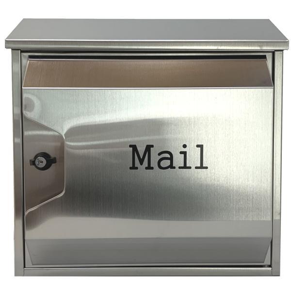 郵便ポスト郵便受けおしゃれかわいい人気北欧モダンデザイン大型メールボックス 壁掛けプレミアムステンレスシルバーステンレス色ポストpm045|ihome|02