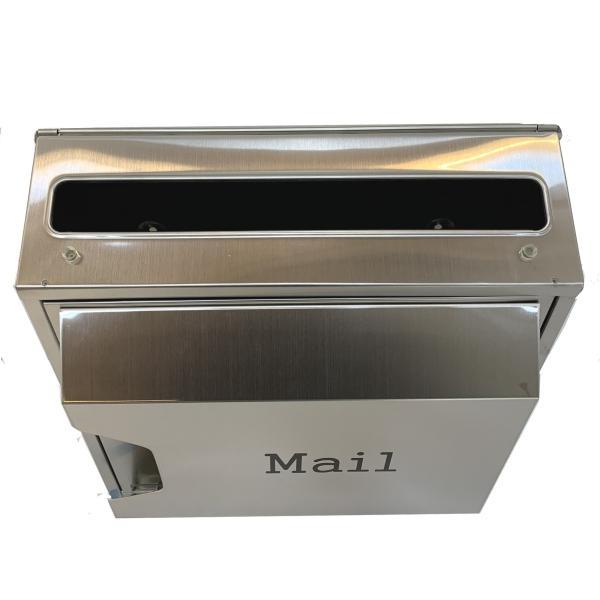 郵便ポスト郵便受けおしゃれかわいい人気北欧モダンデザイン大型メールボックス 壁掛けプレミアムステンレスシルバーステンレス色ポストpm045|ihome|05
