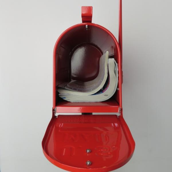 郵便ポスト郵便受けおしゃれかわいい人気アメリカンUSメールボックススタンドお洒落なレッド色ポストpm084|ihome|04