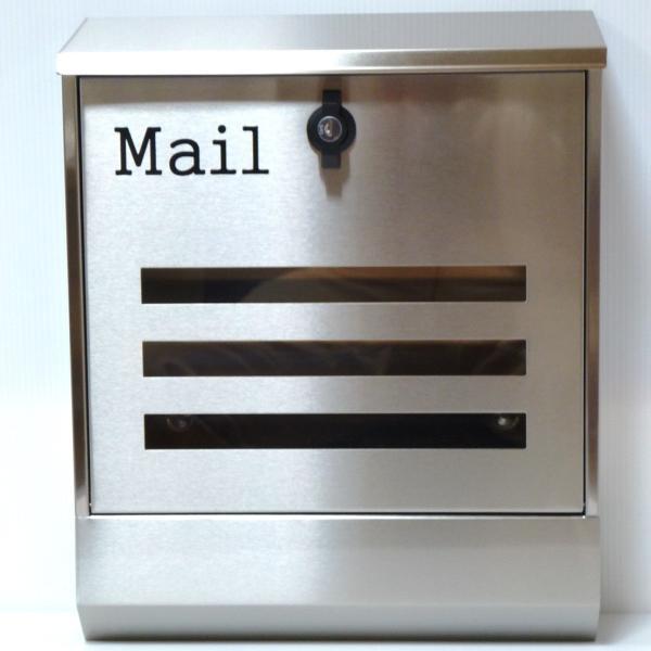 郵便ポスト郵便受けおしゃれかわいい人気北欧モダンデザイン大型メールボックス 壁掛けプレミアムステンレスシルバーステンレス色ポストpm141 ihome 02