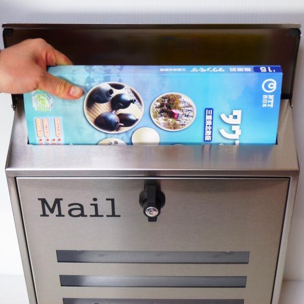 郵便ポスト郵便受けおしゃれかわいい人気北欧モダンデザイン大型メールボックス 壁掛けプレミアムステンレスシルバーステンレス色ポストpm141 ihome 05