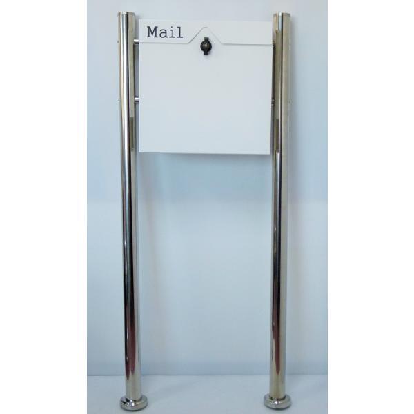 郵便ポスト郵便受けおしゃれかわいい人気北欧モダンデザイン大型メールボックススタンド型プレミアムステンレスホワイト白色ポストpm153s|ihome