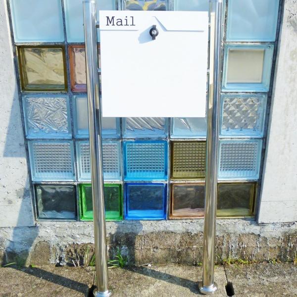 郵便ポスト郵便受けおしゃれかわいい人気北欧モダンデザイン大型メールボックススタンド型プレミアムステンレスホワイト白色ポストpm153s|ihome|04