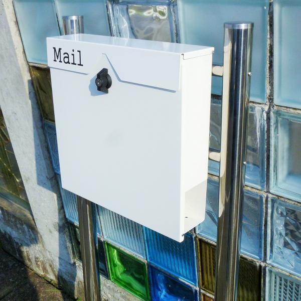 郵便ポスト郵便受けおしゃれかわいい人気北欧モダンデザイン大型メールボックススタンド型プレミアムステンレスホワイト白色ポストpm153s|ihome|05