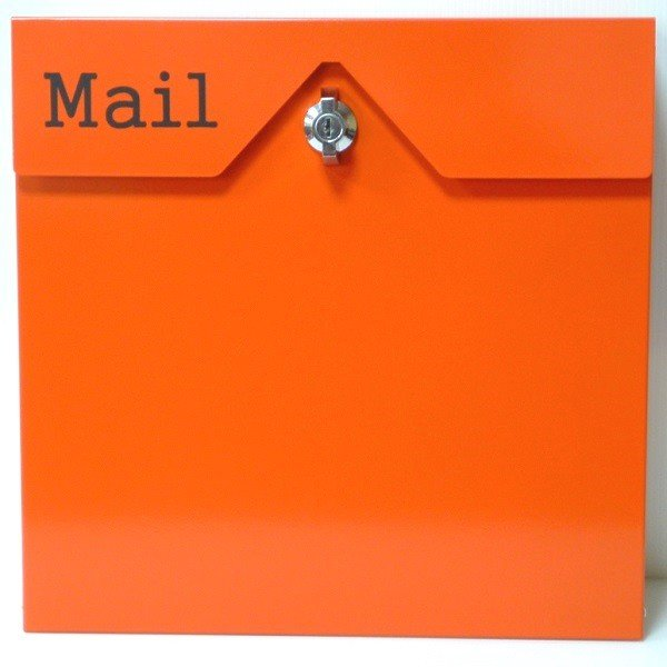 郵便ポスト郵便受けおしゃれかわいい人気北欧モダンデザイン大型メールボックス 壁掛けステンレスオレンジ色ポストm152|ihome|02