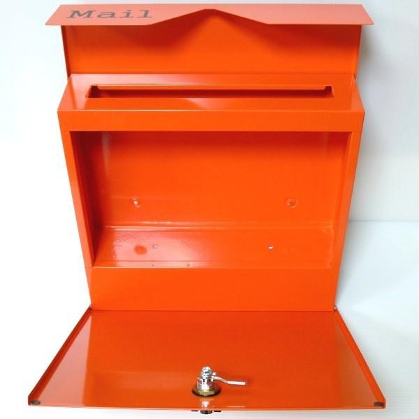 郵便ポスト郵便受けおしゃれかわいい人気北欧モダンデザイン大型メールボックス 壁掛けステンレスオレンジ色ポストm152|ihome|05
