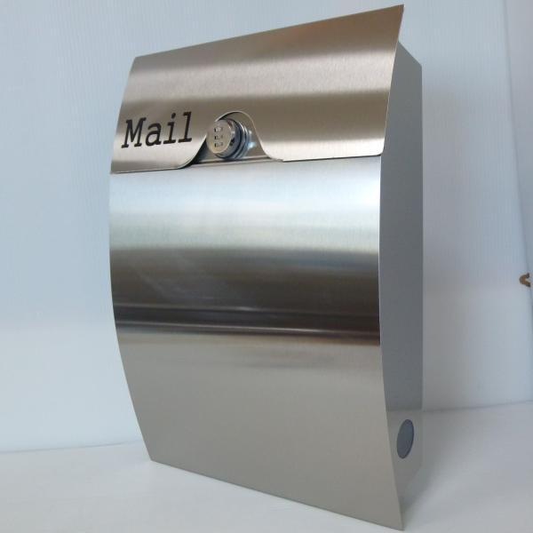 郵便ポスト郵便受けおしゃれかわいい人気北欧モダンデザインメールボックス壁掛けダイヤル錠付きプレミアムステンレスシルバーステンレス色ポストpm161 ihome