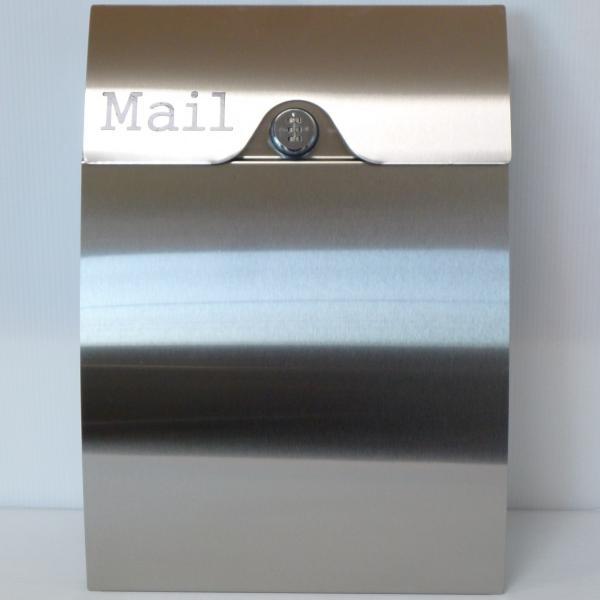 郵便ポスト郵便受けおしゃれかわいい人気北欧モダンデザインメールボックス壁掛けダイヤル錠付きプレミアムステンレスシルバーステンレス色ポストpm161 ihome 02